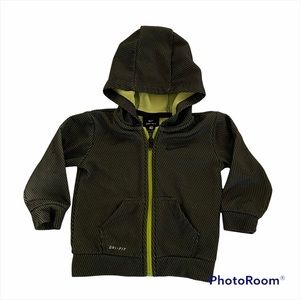 Nike Dry Fit Zip Up Hooded Jacket 18M Gray/Yellow
